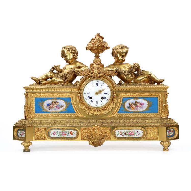 Magnificent Napoleon III Gilt Bronze Mantel Clock, Henri Picard c. 1880