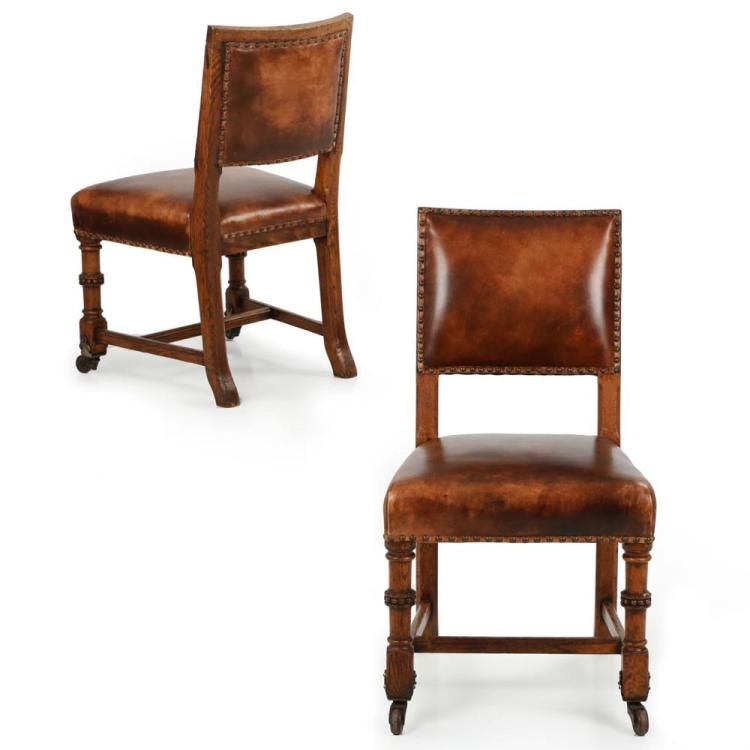 Pair of English Carved Oak and Leather Antique Side Chairs c. 1900