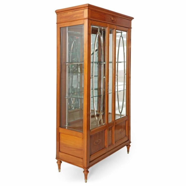 Edwardian Inlaid Fruitwood Glass Display Cabinet Vitrine, Early 20th Century