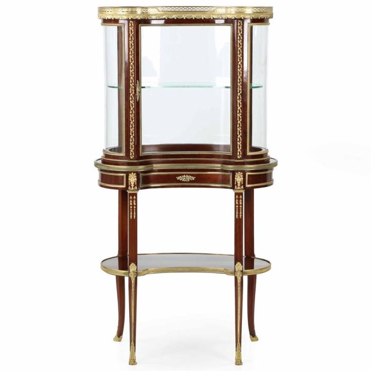 Exceptional French Louis XV Kidney Vitrine Cabinet c. 1900