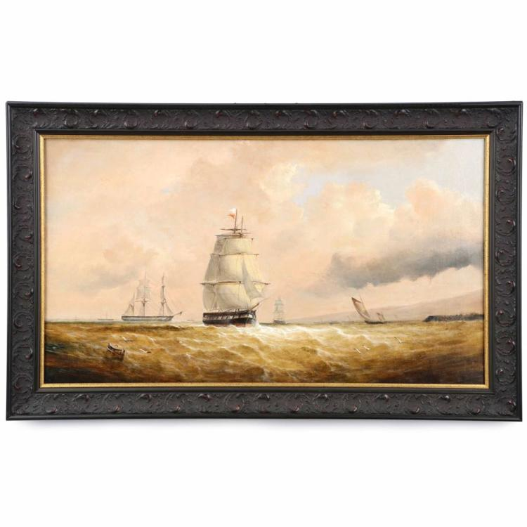Continental School (19th Century) Antique Oil Painting of Ships at Sea