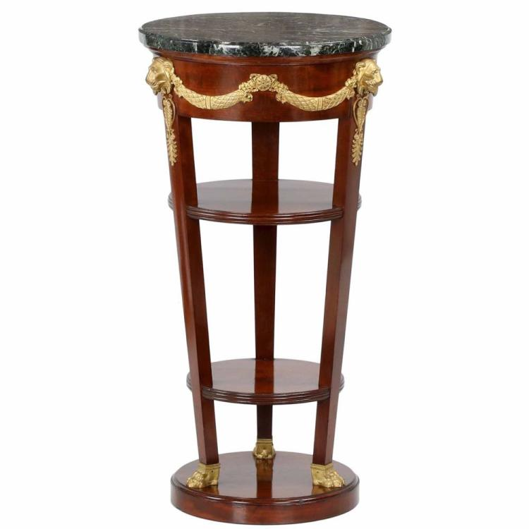French Empire Dore Bronze Mahogany Side Table, Paris c. 1900