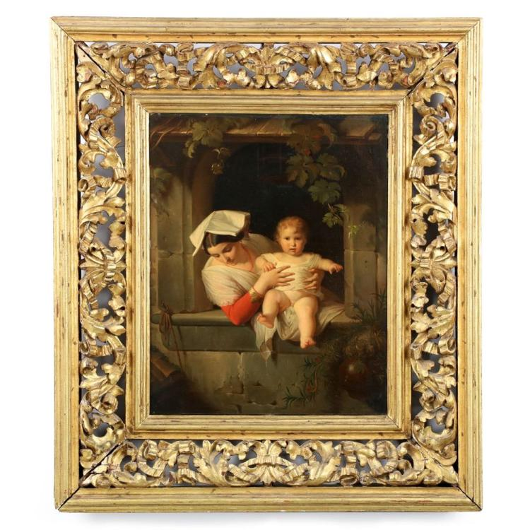 Fine Italian School (19th Century) Antique Oil Painting of Mother & Child