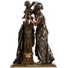 Exceptional Bronze Sculpture of Woman and Child by Susse Freres