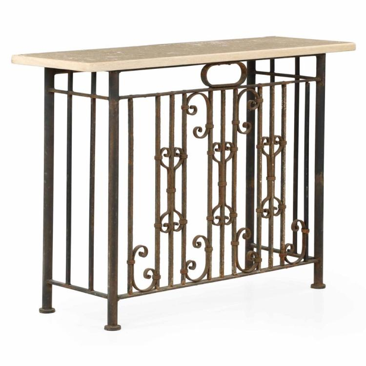 Wrought Iron Stone Top Antique Console Table, 20th Century