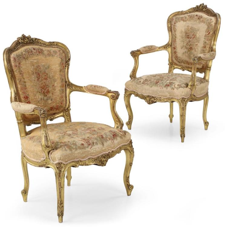 Exceptional Pair of French Louis XV Style Gilt Tapestry Arm Chairs c. 1870