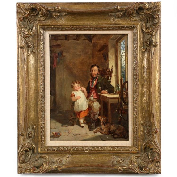 British School Interior Scene Painting of Father and Daughter, 19th Centuy