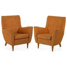VINTAGE PAIR OF MID-CENTURY MODERN SCULPTED TUFTED CLUB CHAIRS