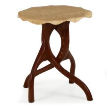 ORGANIC MODERN SCULPTED CURLY MAPLE AND SAPELE SIDE TABLE