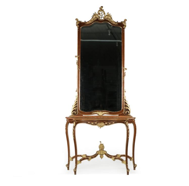 Rococo Carved Walnut Parcel Gilt Pier Mirror and Console Table, 19th Century, 604EJT18Q