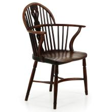 English Yew and Elm Patinated Windsor Arm Chair c. 1810-40, 605APT14P