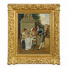 Charles Louis Kratke (French, 1848-1921) Antique Oil Painting of Courting, 605DSQ13A