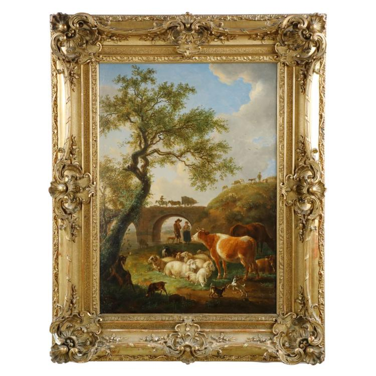 Jean-Baptiste de Roy (Belgian, 1759-1839) Antique Landscape Painting of Sheep and Cattle, 605KIP13X