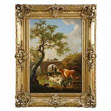 Jean-Baptiste de Roy (Belgian, 1759-1839) Antique Landscape Painting of Sheep and Cattle, 605KIP13X