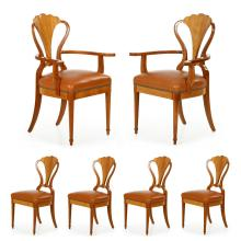 Set of Six Art Deco Style Carved Fruitwood and Leather Dining Chairs, 604QKM18A