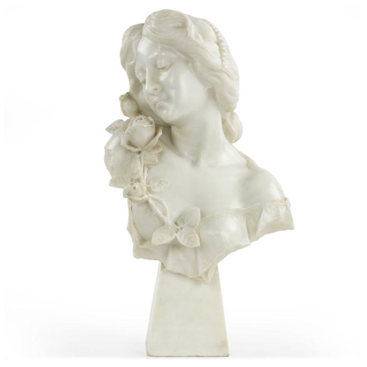 A. Testi (Italian, 19th/20th Century) Antique Marble Bust Sculpture of Young Woman, 605JSH14P