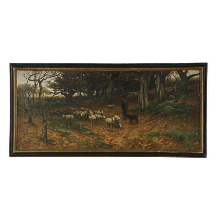 John Carleton Wiggins (American, 1848-1932) Antique Landscape Painting of Sheep, 605PTC21A