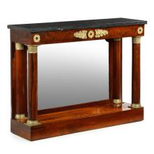 Empire Rosewood Gilt Bronze Black Marble Pier Console Table, 19th Century, 604UTP18A