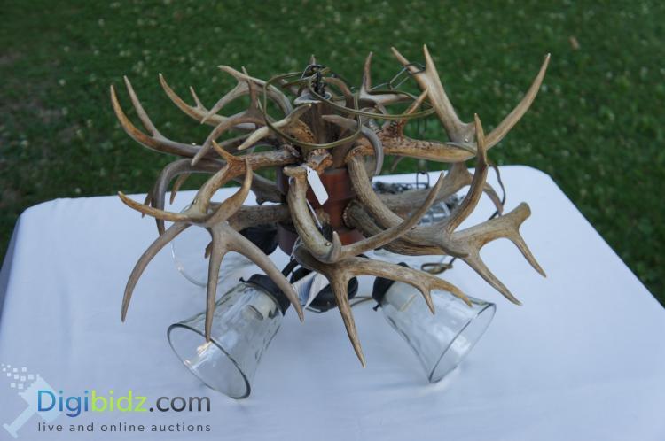 Lot 76: Custom Deer Antler Chandelier