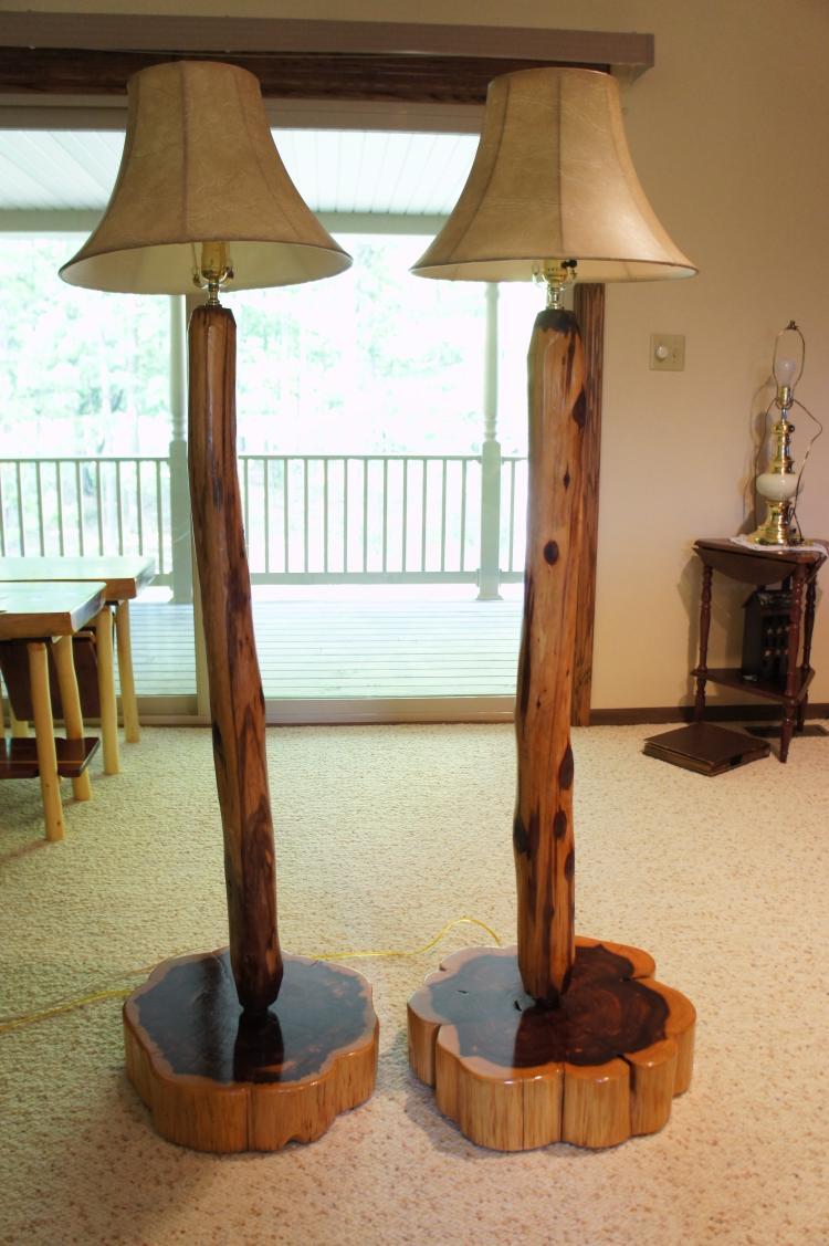 Lot 63: Tall Natural Timber Lamp Set