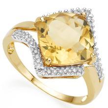 Natural Citrine & Diamond Ring
