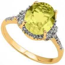Natural Lemon Topaz & Diamond Ring