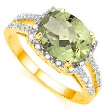 Natural Green Tea Amethyst Diamond Ring