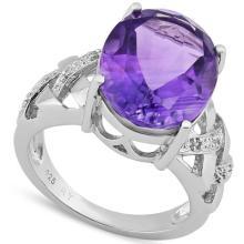 Natural Amethyst & Diamond Ring