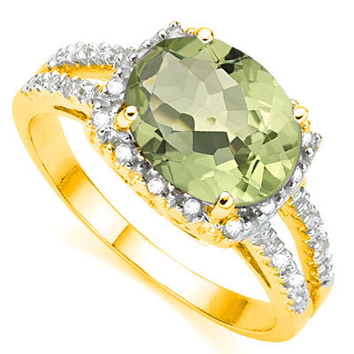 Natural Green Amethyst & Diamond Ring