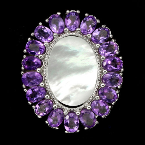 Natural Purple Amethyst Mother Of Pearl Ring