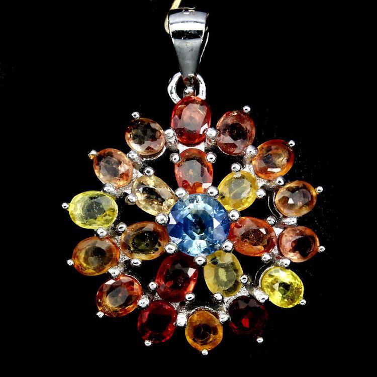 Natural Fancy Color Sapphire Flower Pendant