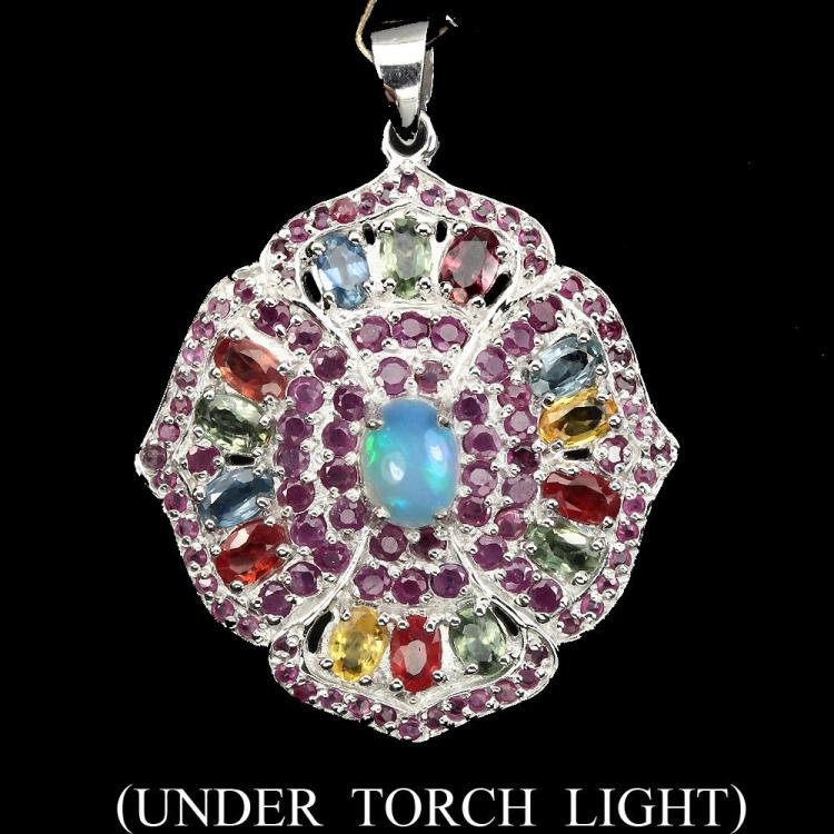 Natural White Opal Ruby Sapphire Pendant