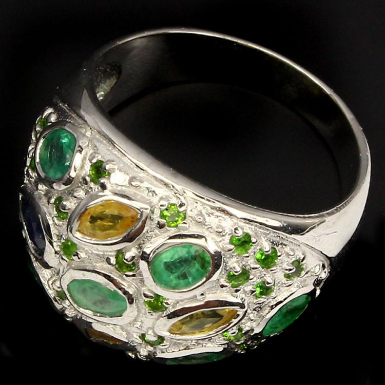 emerald chrome diopside sapphire ring