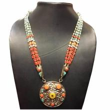 Tibet Hand Made Natural Amber Coral Turquoise Necklace