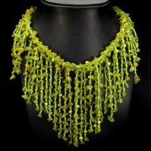 Natural Peridot, Pearl & Crystal 708 Carats Necklace