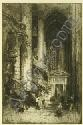 Hedley Fitton, (English, 1859-1929) Interior Cathedral Scene, steel faced engraving, signed in, Hedley Fitton, Click for value