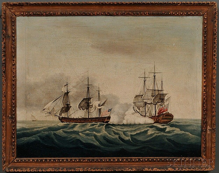 After Francis Holman (British, 1729-1790) East India Company's ship Bridgewater Successfully Defending Her Cargo From Attack by the Am