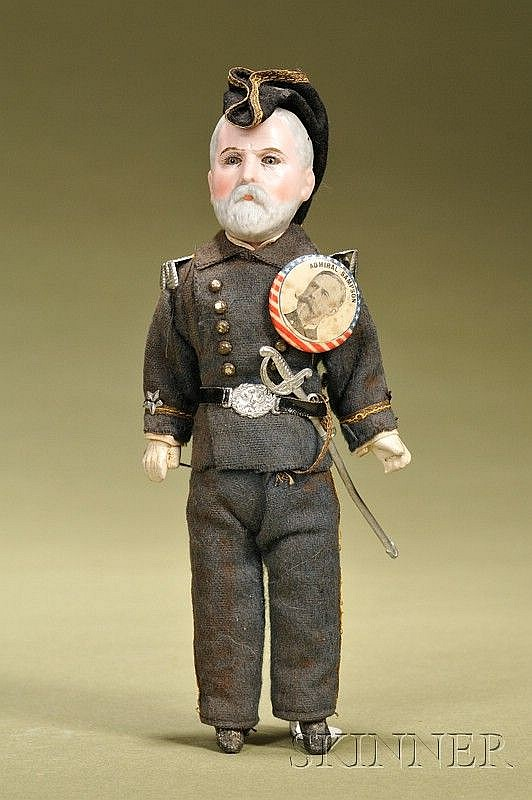 Admiral William Thomas Sampson Portrait Doll, Cuno & Otto Dressel, Germany, c. 1900, bisque socket head incised 17...