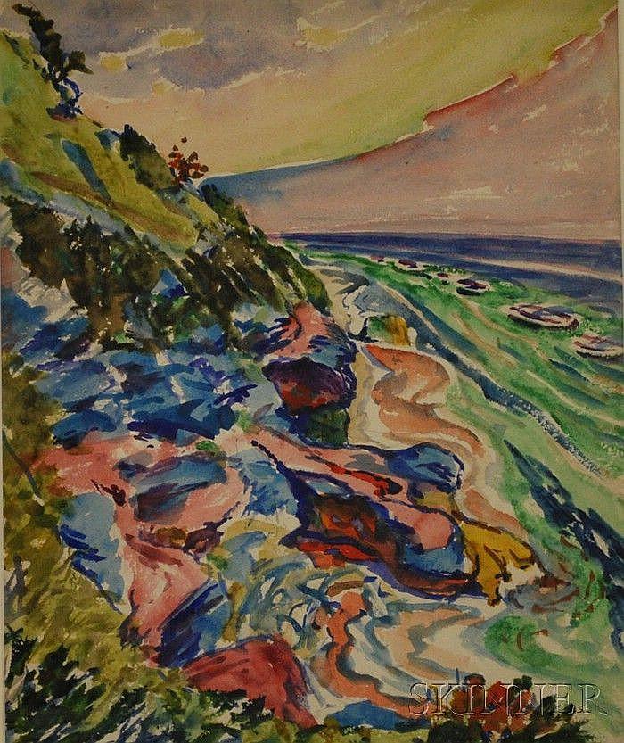 Frank Carson (American, 1881 - 1968) Bermuda Seascape. Signed