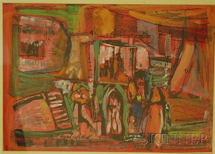 Motke Blum (Israeli, b. 1925) Abstract Composition with Figures. Signed and inscribed in pencil over ink