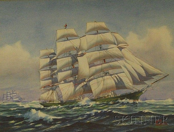 John Faunce Leavitt (American, 1905-1974) Lot of Two Clipper Ships. Each signed