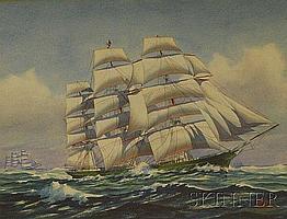 """John Faunce Leavitt (American, 1905-1974) Lot of Two Clipper Ships. Each signed """"JOHN F. LEAVITT"""" l.r. Gouache on paper, sight sizes to"""