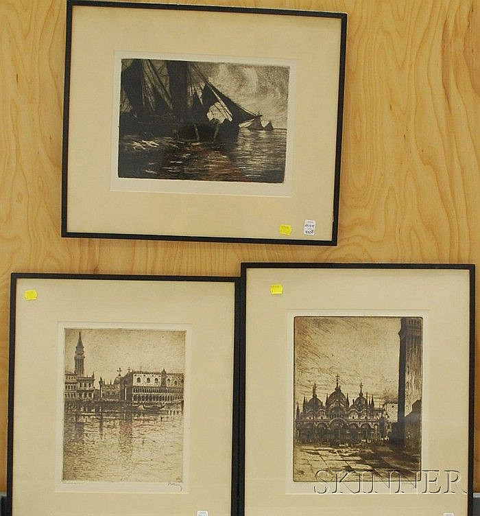 Lot of Three Works: Bela Kron (Hungary, 1884-1965), Pair of Views of Saint Mark's, Venice, both signed