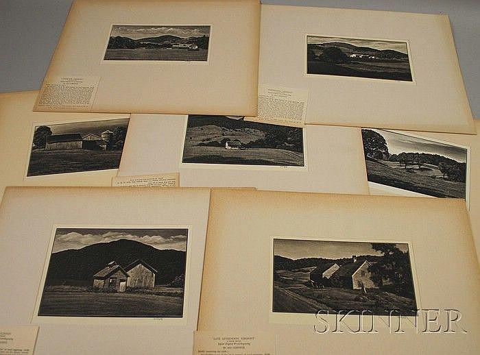 Asa Cheffetz (American, 1897-1965) Lot of Nine Wood Engravings: Late Afternoon, Vermont; Rural Schoolhouse; Farm Buildings; Summertide,