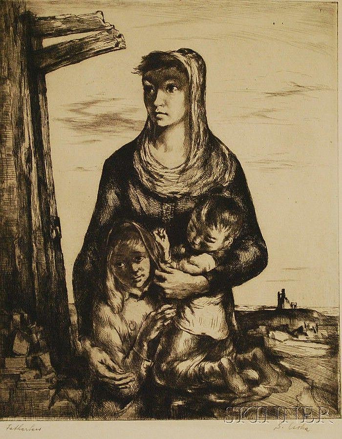 Stephen Csoka (American, 1897-1989) Fatherless. Signed