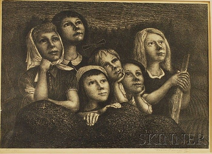 Lot of Two Lithographs: Ture Bengtz (American, 1907-1973), Children, signed