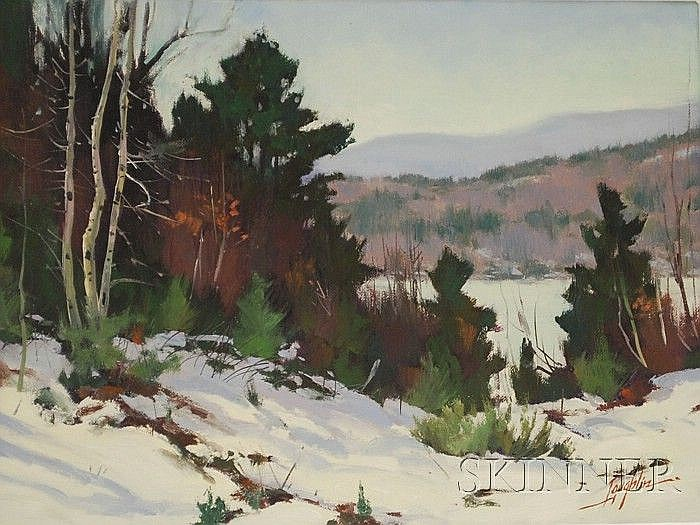 John Leo Loughlin (American, 1931-2004) Study for Princeton Winter. Signed