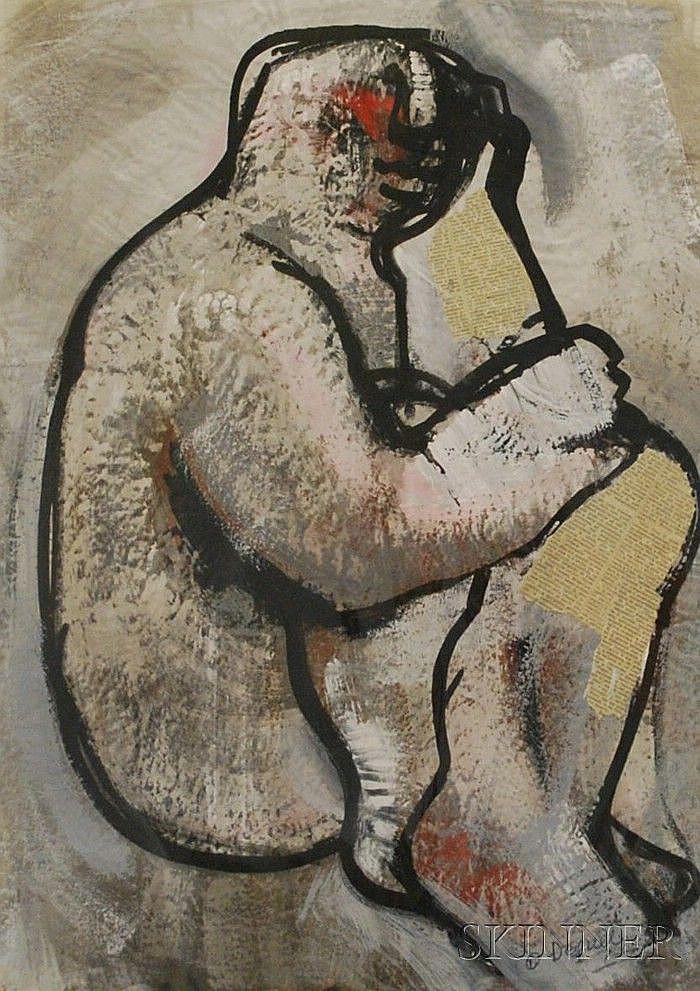 Oreste Dequel (Italian, 1923-1989) Figure Study. Signed