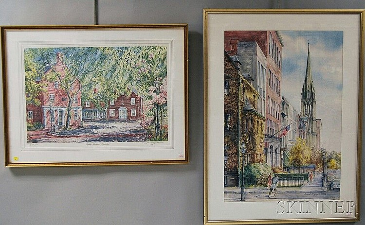 Kevin J. Shea (American, 20th Century) Two Works on Paper: Newbury Street, Boston, signed and dated
