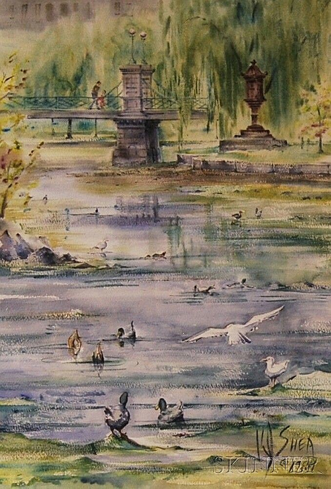 Kevin J. Shea (American, 20th Century) Boston Public Garden Pond with Ducks and Gulls. Signed and dated